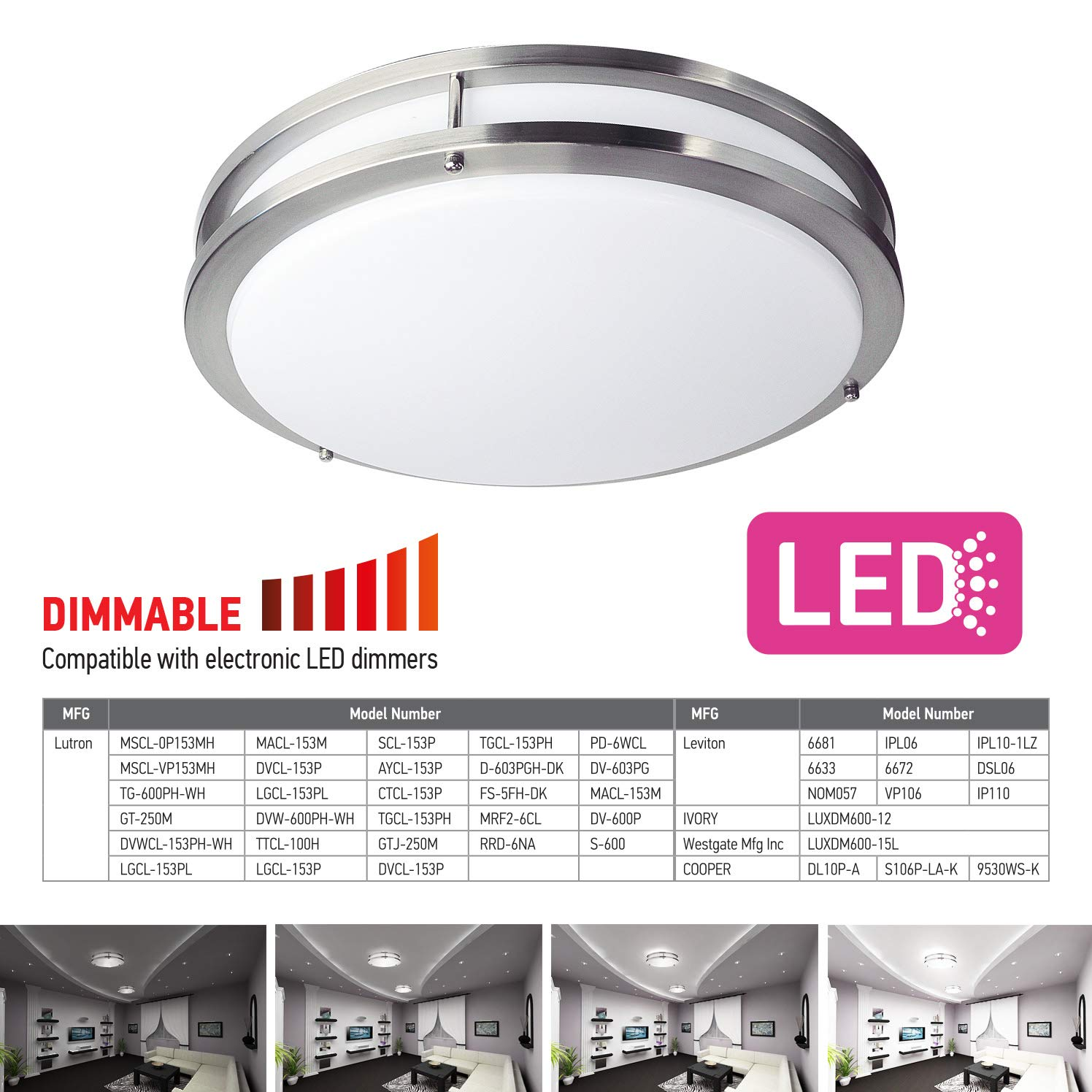 OSTWIN 18'' Large Size LED Ceiling Light Fixture Flush Mount, Dimmable, Round 28 Watt (180W Repl.) 5000K Daylight, 1960 Lm, Nickel Finish with Acrylic Shade ETL and Energy Star Listed by OSTWIN (Image #5)