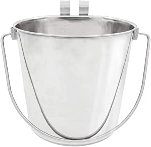 Fuzzy Puppy Flat Sided Pail with Dual Hooks, Snugly Fit On Dog, Cat and Critter Crates & Cages, Heavy Duty Stainless Steel, 6 Quart (FSP-6)