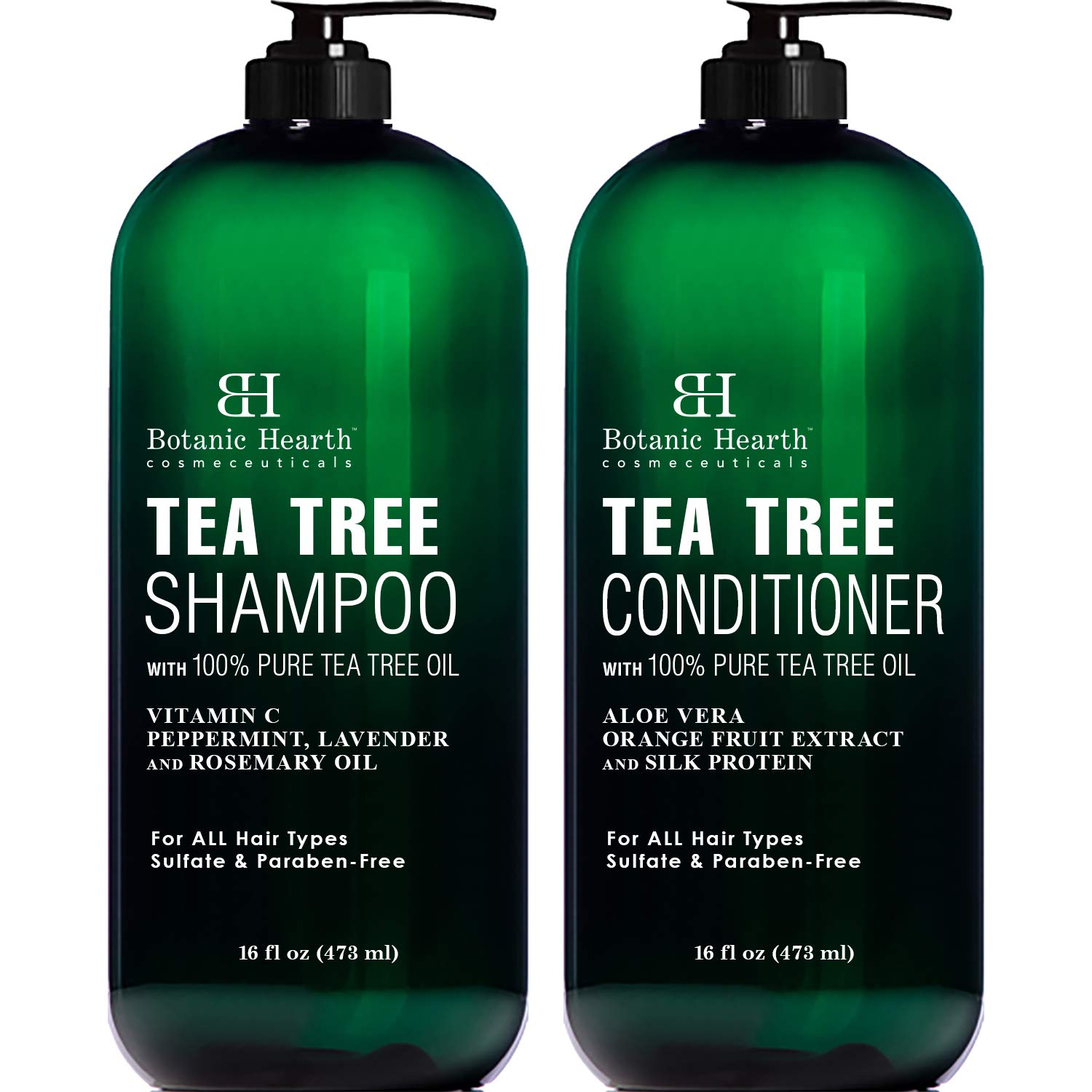 Botanic Hearth Tea Tree Shampoo and Conditioner Set – with 100% Pure Tea Tree Oil, for Itchy and Dry Scalp, Sulfate Free, Paraben Free – for Men and Women – 2 bottles 16 fl oz each