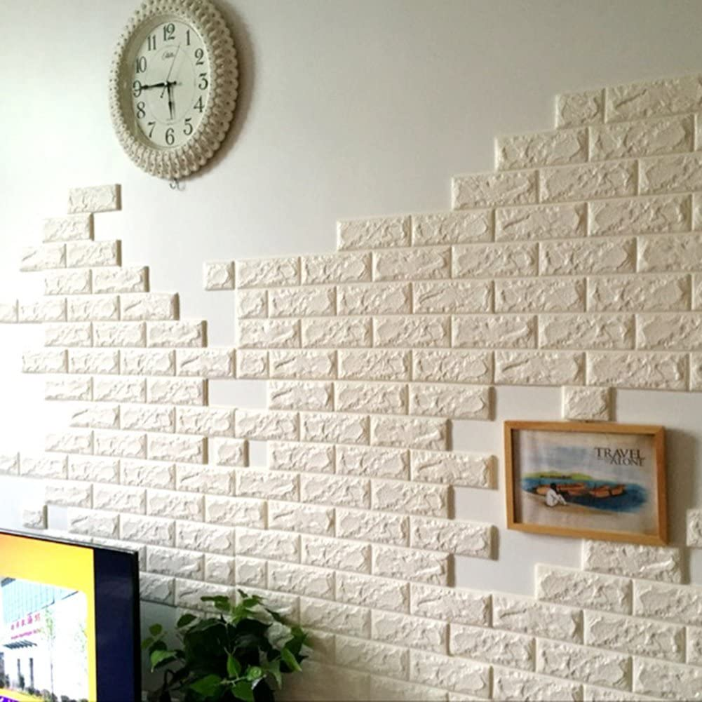 - Amazon.com: Jintuo 3D Brick Pattern Wall Stickers Peel And Stick