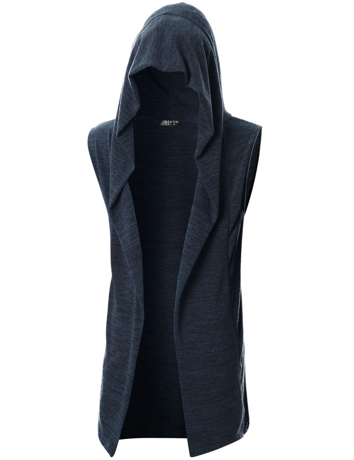 GIVON Mens Sleeveless Lightweight Ruffle Shawl Collar Cardigan with Pockets/DCC046-NAVY-M