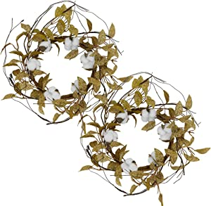 idyllic 12 Inch Door Wreath Artificial Spring Cotton Wreath for Wall & Home Decoration (2 Pack)