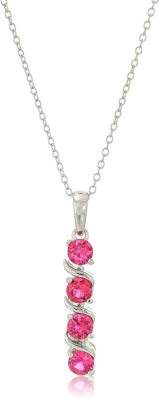 Collar con colgante de plata de ley con 4 piedras preciosas auténticas o creadas (4 mm), 45,7 cm