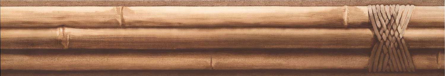 Concord Wallcoverings Classic Pattern Wallpaper Border Featuring Bamboo Sticks, Colors Beige and Brown, Size 4.5 Inches by 15 Feet HH8312B