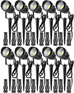 LCARED 12W Low Voltage LED Landscape Lights,Outdoor 12V Super Warm White (1000LM) Waterproof Garden Pathway Lights Wall Tree Flag Spotlights with Spike Stand (10 Pack with Connector)