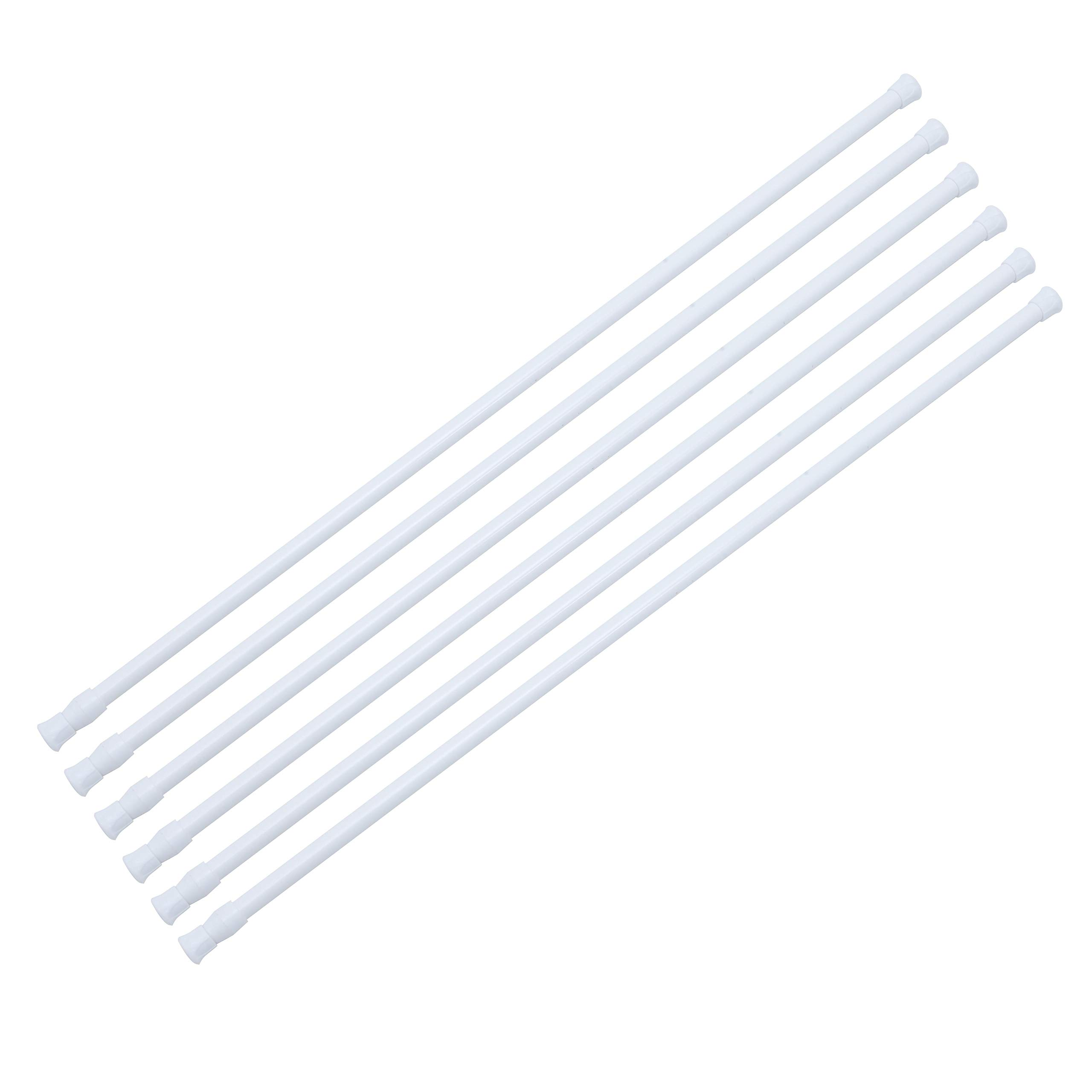 Dyna-Living 6 Pcs Curtain Rods Adjustable 0.5 inch Diameter 28 to 48 Inch Curtain Pole Expandable Tension White by Dyna-Living