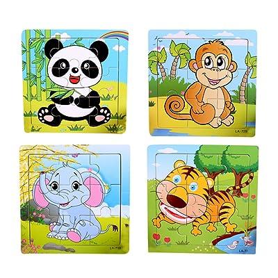 TOYMYTOY 4pcs Puzzle en Bois Bebe Puzzle Encastrement Animaux de Ferme pour Enfants (Éléphant / Tigre / Panda / Singe)
