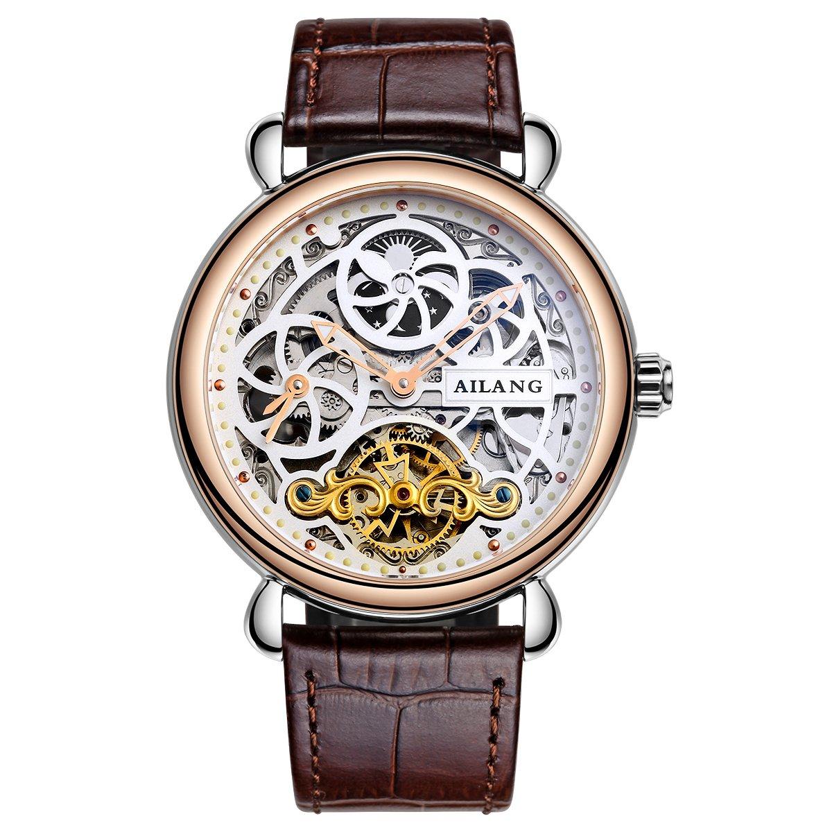 AILANG タービロン スケルトン自動機械式メンズ腕時計 レザーストラップ AL5810 Gold / White B071RZ2S6Z Gold / White Gold / White