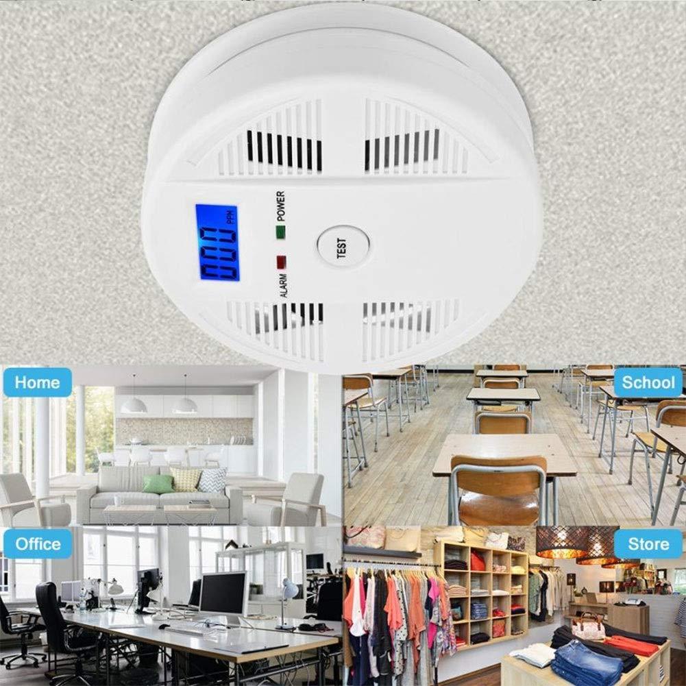 Humo 85dB LCD Digital y mon/óxido de Carbono Detector de Alta sensibilidad del Sensor de Gas CO Envenenamiento Aviso de Alarma for la Seguridad casera SXCLS Indicadores de Gas t/óxico