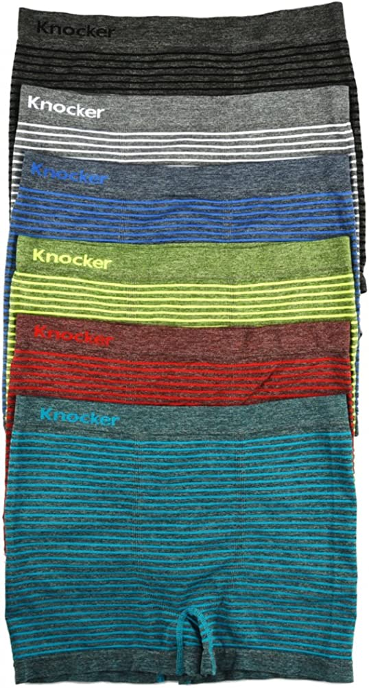 Knocker Men's Seamless Boxer Briefs Underwear Assorted 6 Pack