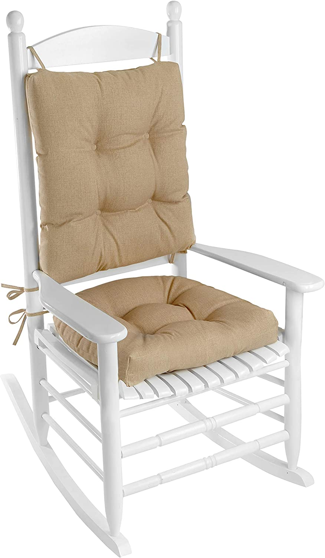 Klear Vu Solarium Indoor Outdoor Rocking Chair Pad Seat And Seatback Cushion Set Husk Birch Home Kitchen