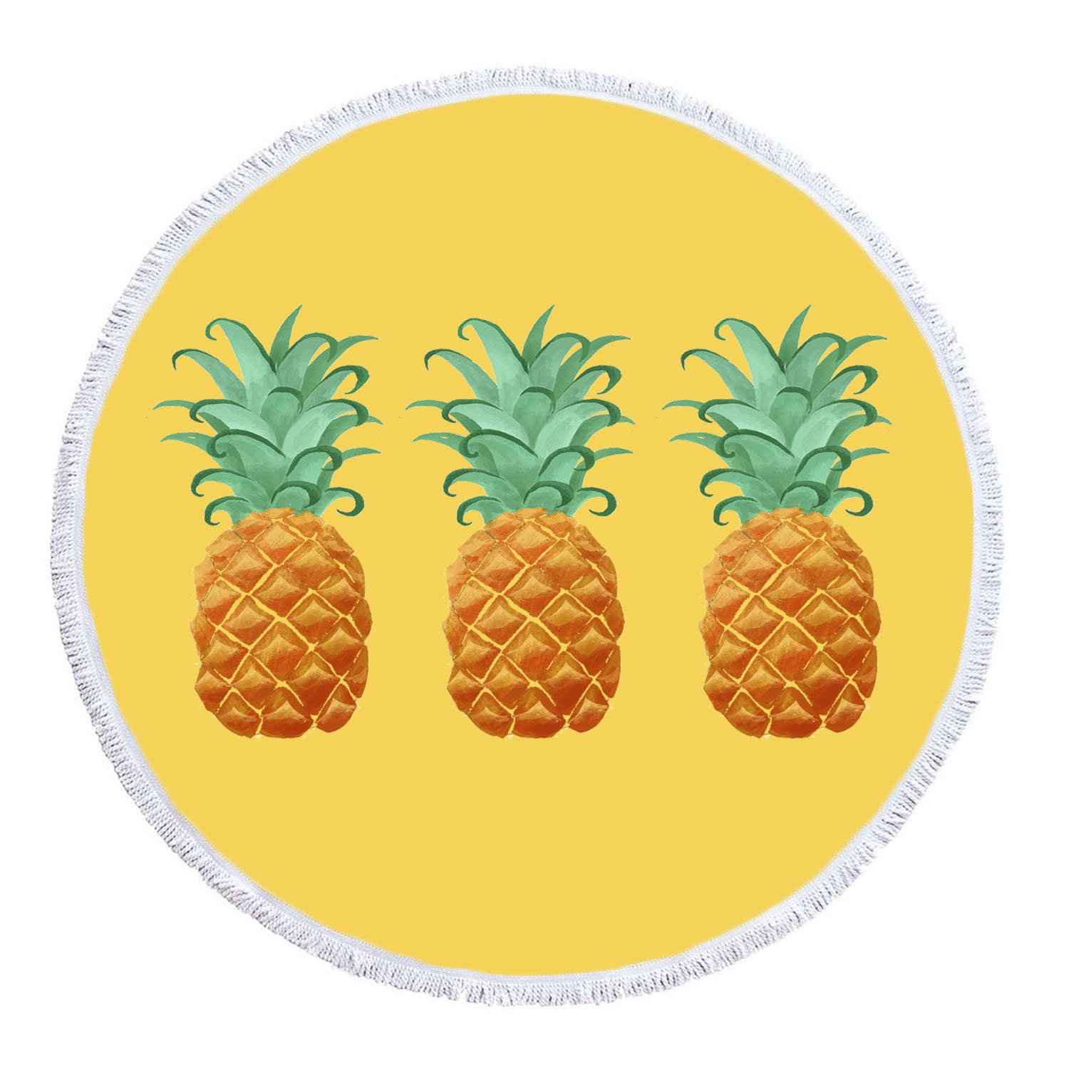 LIPOR Handcraft Round Beach Towel, Cool Sweet Fruit Pineapple Yellow and White,Thick Round Beach Towel Tapestry Blanket Yoga Mat With Tassels 60 inches