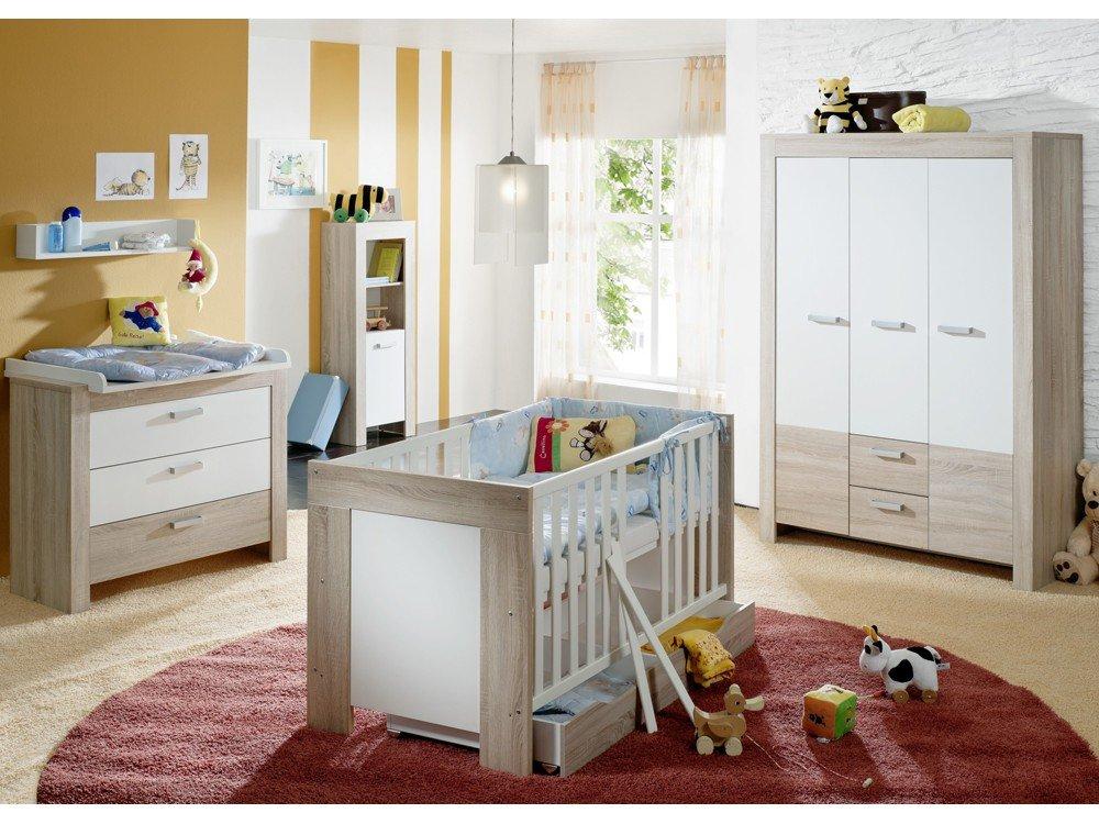 Babyzimmer SET 3 teilig eiche sägerau Kinderbett Wickelkommode Kleiderschrank