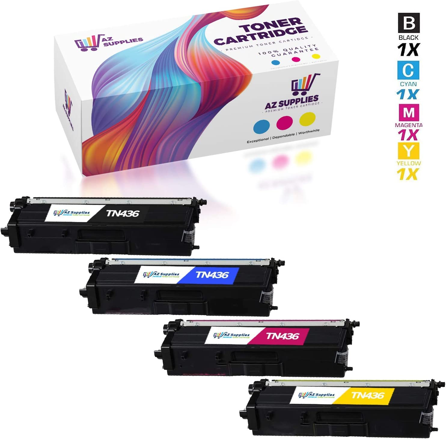 Black, Yellow, Cyan, Magenta, 4-Pack AZ Compatible Toner Cartridge Replacement for Brother TN436 use in HL-L8360CDW HL-L8360CDWT HL-L9310CDW MFC-L8900CDW MFC-L9570CDW