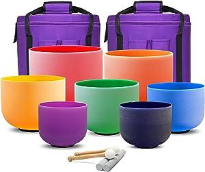 CVNC Set Of 7 PCS 6-12 Inch Colored Frosted Chakra Quartz Crystal Singing Bowls Sound Healing Instrument Free 2 PCS Travel Carry Case Bag For Meditation