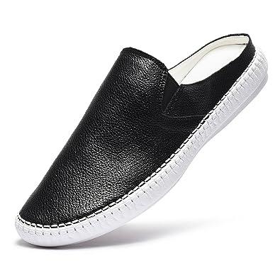 9b460b2d4054 Artisure Men s Classic Handsewn Black Genuine Leather House Office Slippers  Indoor Outdoor Comfort Slip