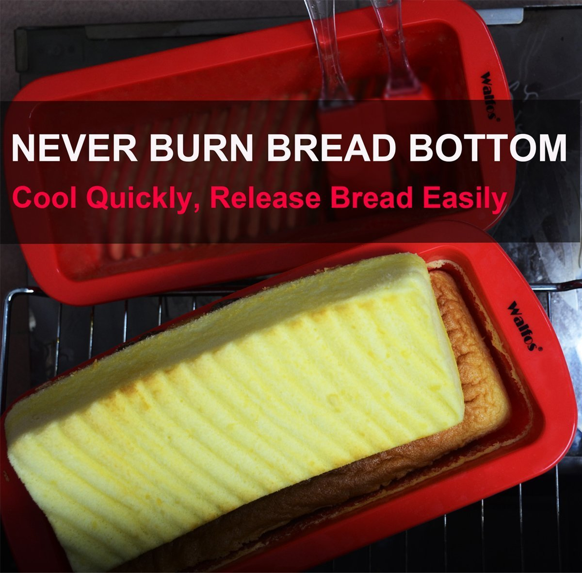 Meatloaf and quiche Breads BPA Free Loaf pan Walfos Nonstick Silicone Bread and Loaf Pan Set of 2 Without Chemical Coating,Just Pop Out W01 Easy release and baking mold for Homemade Cakes