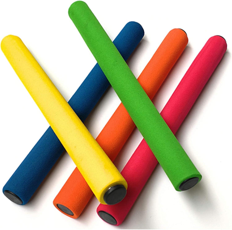 U-N KIKEEP Track and Field Relay Batons Sticks Assorted Color Relay Running Race Batons Sticks Foam Relay Running Baton 5 Pack Track /& Field Sticks