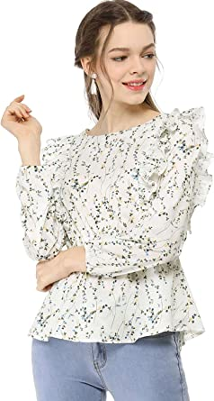 Allegra K Womens Square Neck Long Bell Sleeve Floral Print Smocked Blouse Top