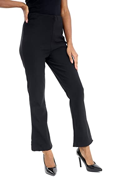313c1233 Ladies Stretch Bootleg Trousers Ribbed Women,S Bootcut Elasticated Waist  Pants Work WEAR Pull ON Bottoms Plus Big Sizes 8-26 Colour Brown, Black,  Navy Blue