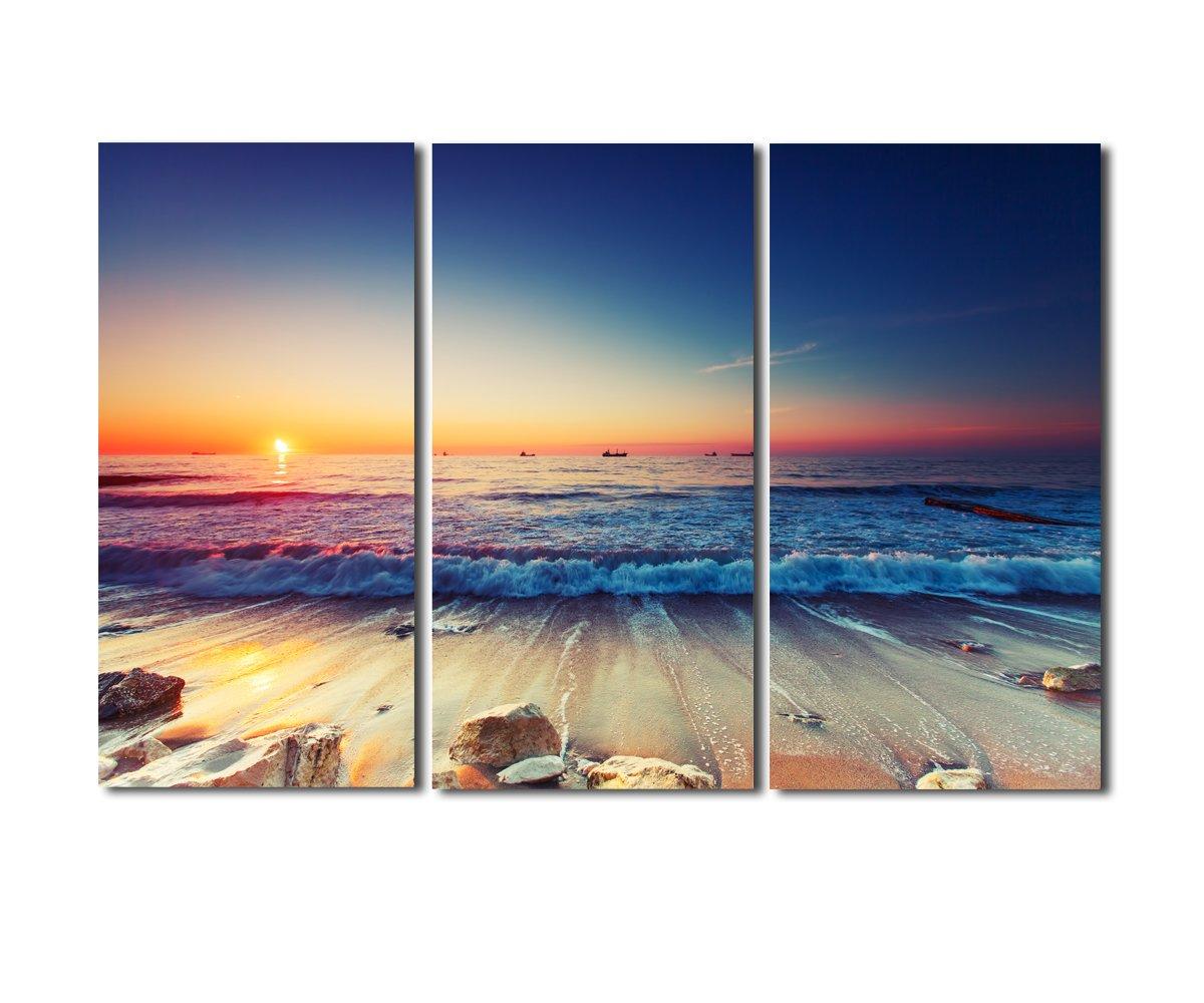 レモンツリーART アートパネル キャンバス絵画 海の景色 夜明けの海 日の出 日暮れ 現代モダン インテリアアート 壁飾り 木枠の完成品の3パネルセット 30x80cmx3パネル B072ZC8F21アートパネル(30cm*80cm*3)