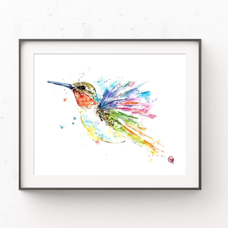 Colorful Hummingbird 8x10 ORIGINAL Watercolor Painting