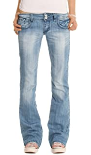 c23c4570c9e8 bestyledberlin Damen Jeanshosen, Hüftige Regular Fit Jeans, Basic Boot-Cut  Jeans j06x