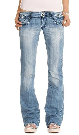 bestyledberlin Damen Jeanshosen, Hüftige Regular Fit Jeans, Basic Boot-Cut Jeans j06x