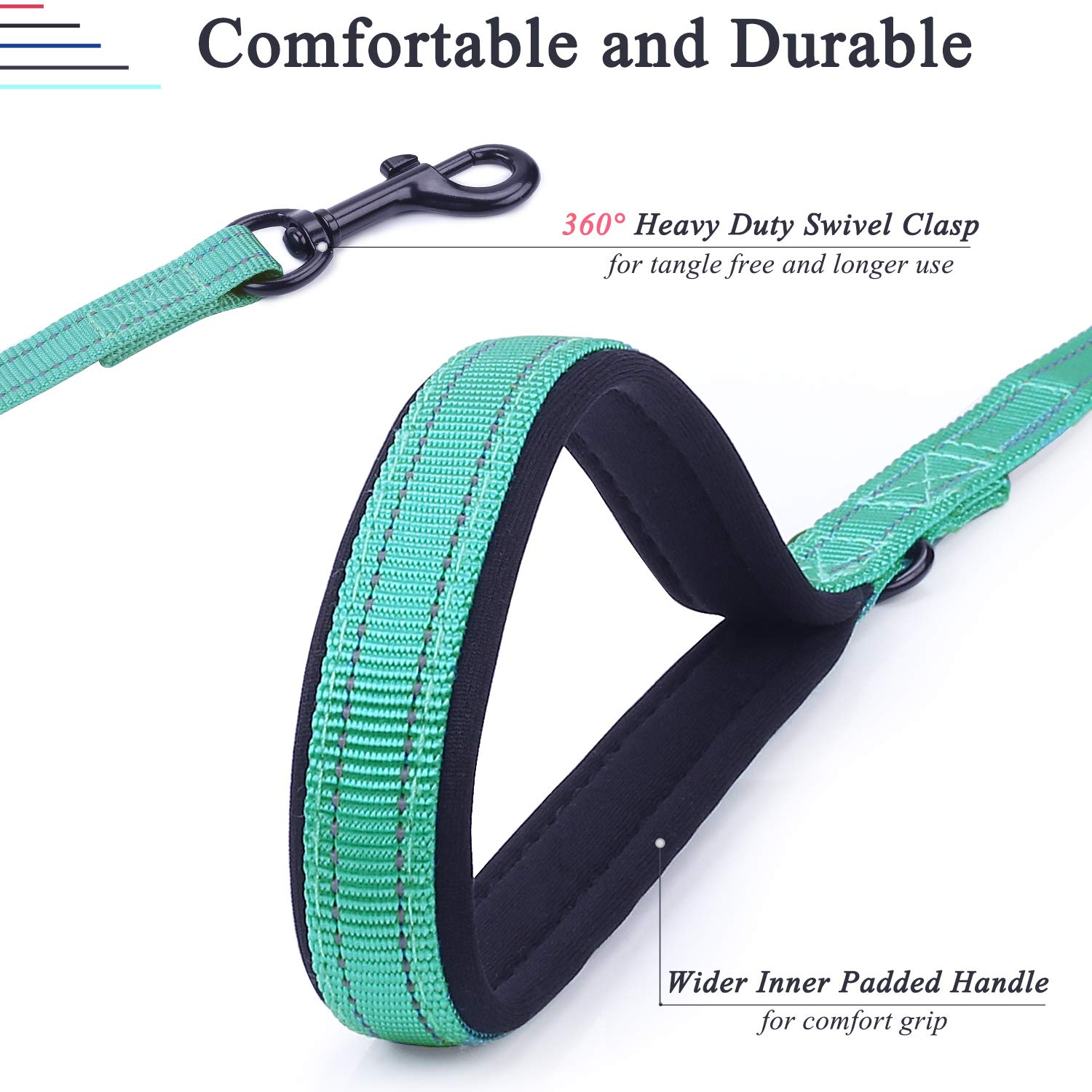 Heavy Duty 6ft Long Reflective Safety Walking Leash for Medium to Large Dogs Grey VIVAGLORY Dog Training Lead with 2 Padded Handles