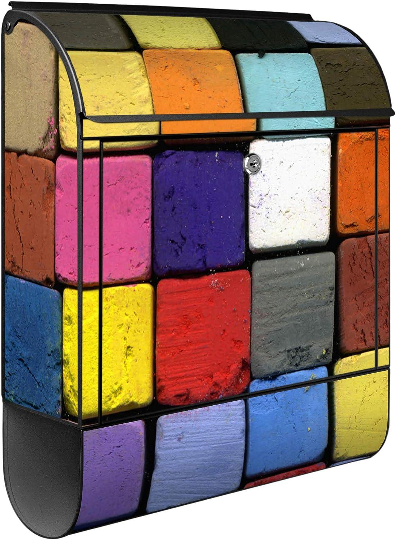Banjado Design Briefkasten personalisiert mit Motiv Bunte Kreide Montagematerial Gr/ö/ße 39x47x14cm inkl 2 Schl/üssel Stahl pulverbeschichtet mit Zeitungsrolle A4 Einwurf