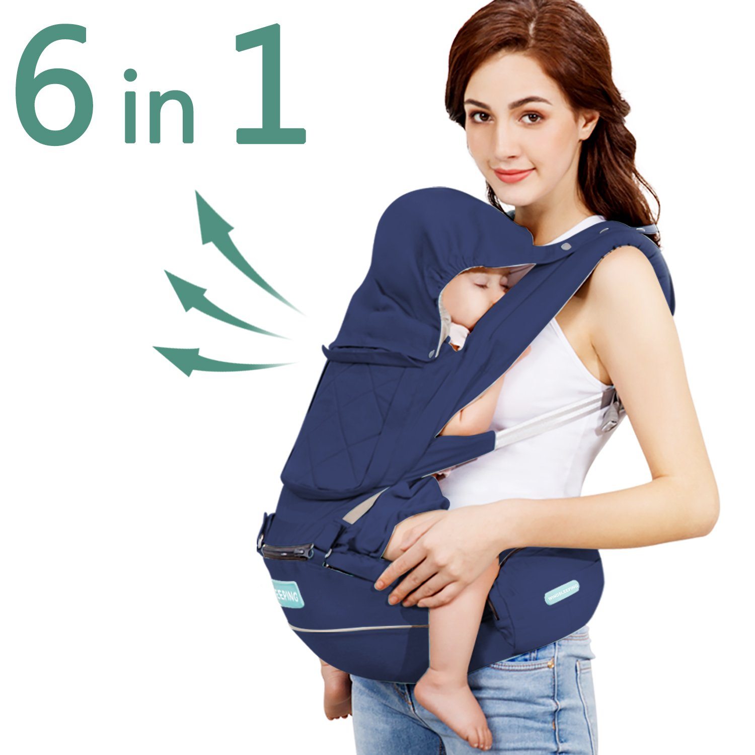 Windsleeping 360° Ergonomic Baby Carrier with Hip Seat for All Seasons,6-in-1 Ways to Carry Baby in Front and Back for Infants Babies Toddlers Child and Newborns - Dark Blue
