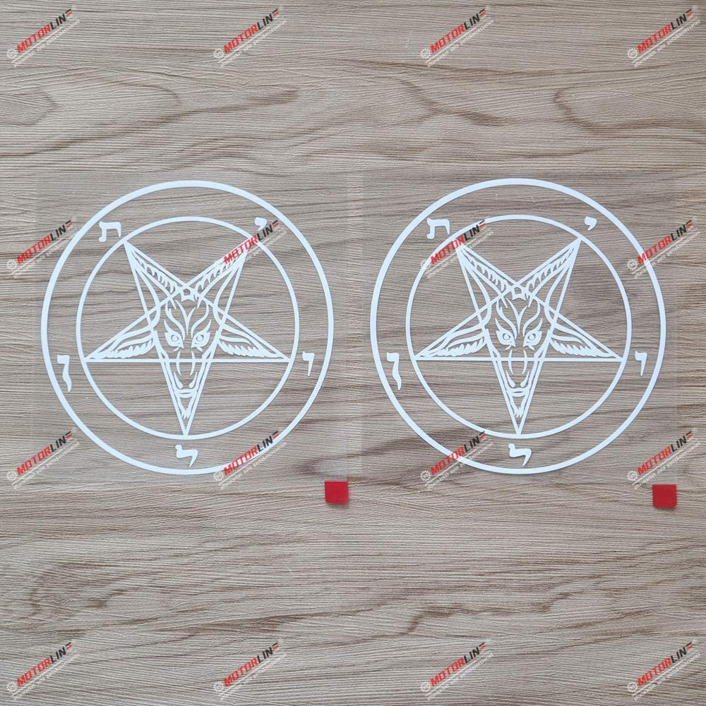 2X White 5'' Pentagram Baphomet Devil Satanic Goat Decal Vinyl Sticker Car Laptop Window Style b