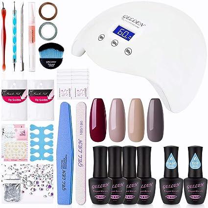 Gellen Kit de esmaltes de uñas en gel Pack de 4 colores + parte superior y Base abrigos: Amazon.es: Belleza