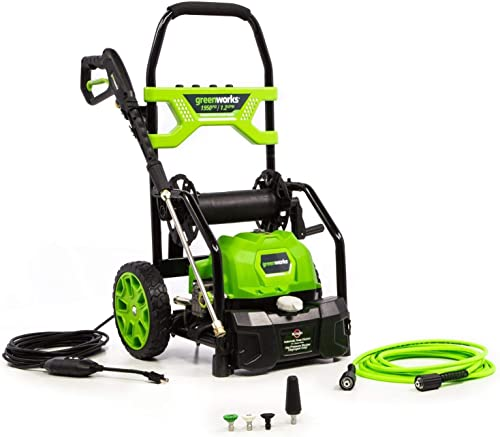 Greenworks 5103702 1950 PSI 1.2 GPM Open Frame Electric Power Cleaner Pressure Washer with 20 Foot Hose Reel 35 Foot GFCI Power Cord