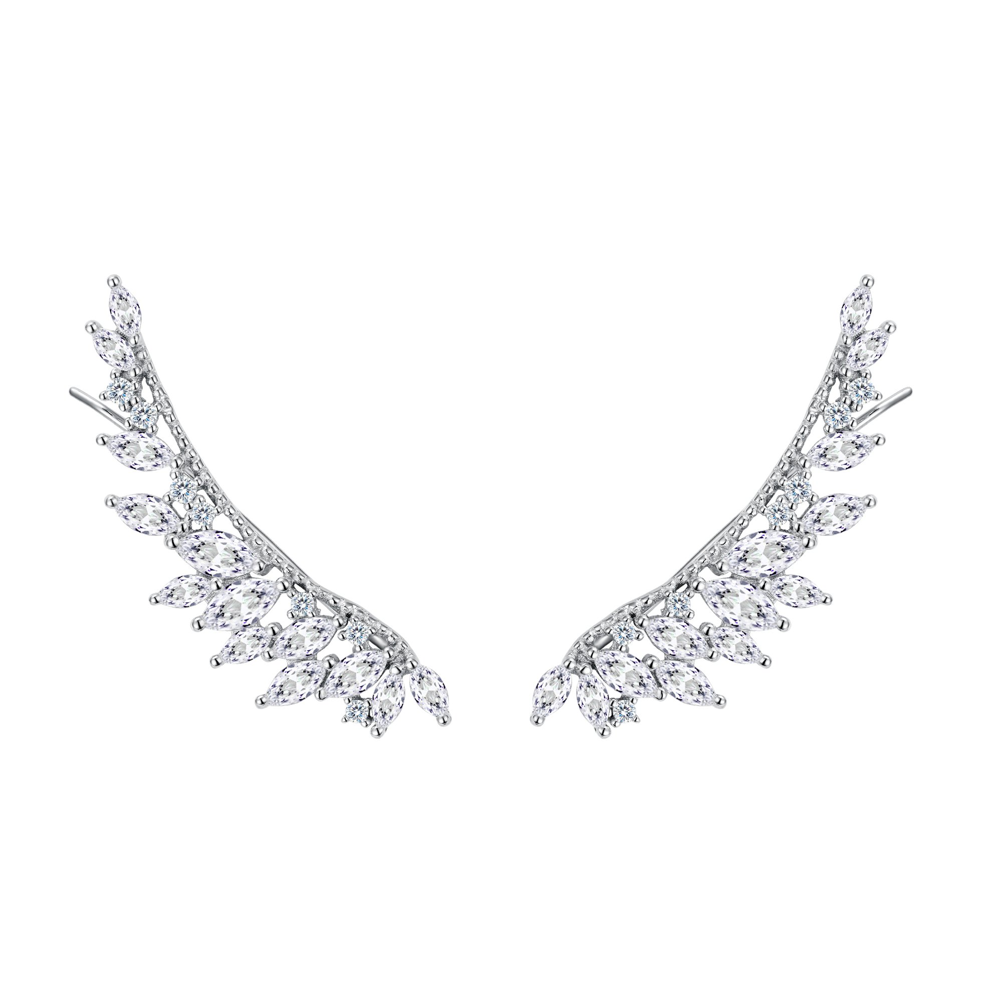 FANZE Women's 925 Sterling Silver CZ Irregular Wings of Angel Elegant Sweep Up Ear Pin Crawler Wrap Climber Earrings