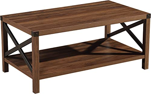 Cheap Lipo Rustic Coffee Table Modern Farmhouse Furniture Metal Wood Rectangle End Tables living room table for sale