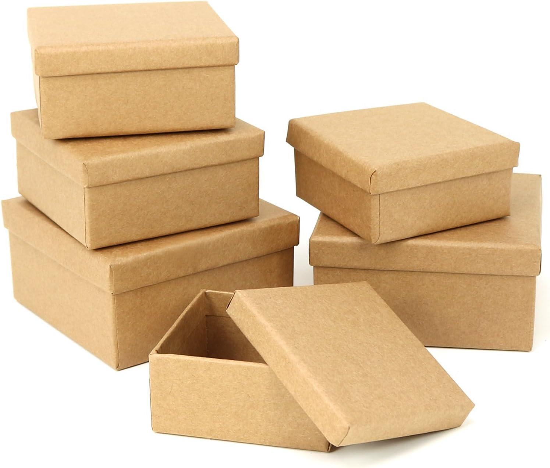 com-four® 6X Cajas de Regalo, Cajas de cartón apilables para diseñar y almacenar Materiales artesanales