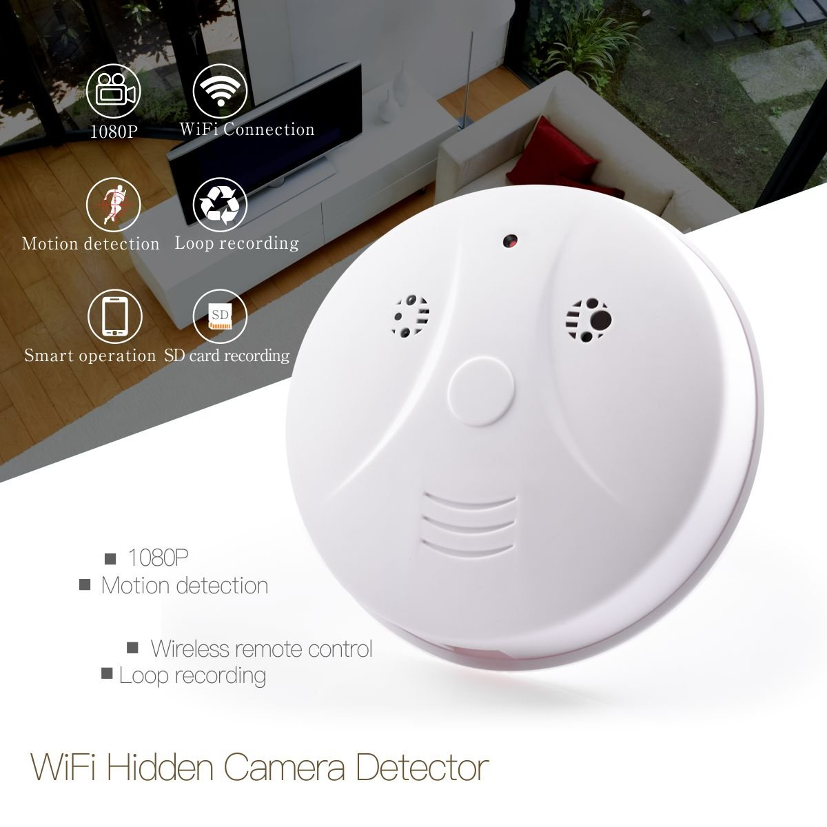 WiFi Spy Hidden Camera Smoke Detector HD 1080P Wireless Security Hidden Cam Motion Activated Recording Nanny Cam P2P Network Video Camera