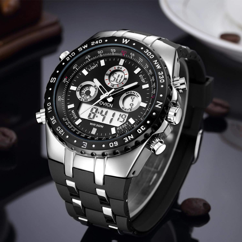 Reloj analógico digital para hombre Reloj deportivo para hombre Gran cara militar Reloj eléctrico impermeable digital Reloj militar resistente al choque ...