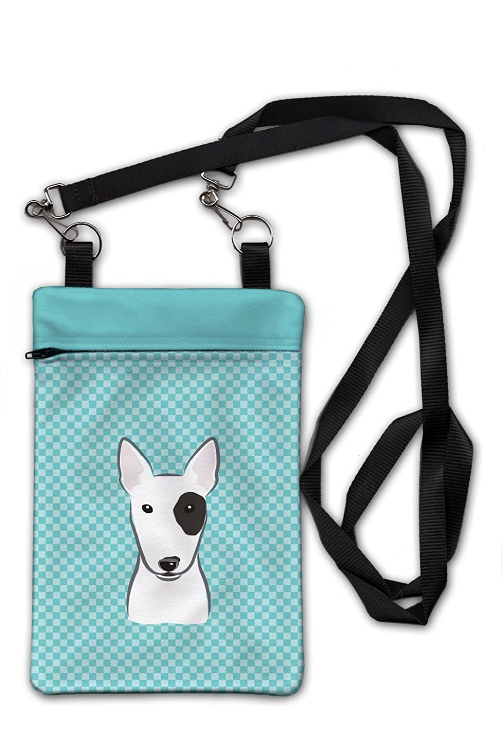 "Caroline's Treasures BB1147OBDY Checkerboard Blue Bull Terrier Crossbody Bag Purse , 6 1/2 x 9 1/2"", multicolor"