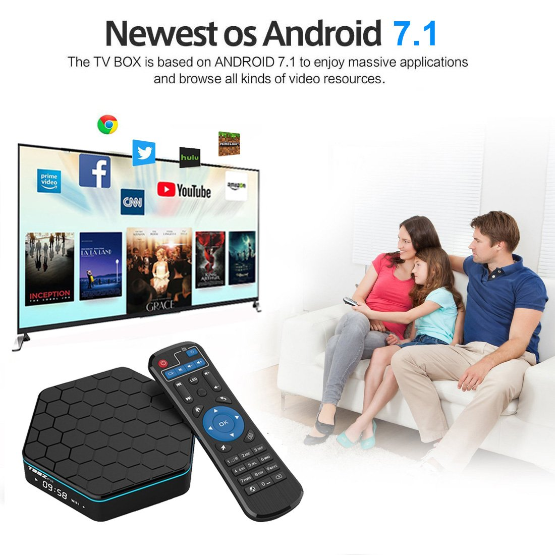 EASYTONE T95Z PLUS Android TV Box,Octa Core Smart TV Box 2GB RAM 16GB ROM Android 7.1 Amlogic S912 Support 2.4G/5G Dual Wifi/1000M LAN/BT 4.0/4K Resolution/3D TV Boxes with Mini Wireless Keyboard by EASYTONE (Image #2)