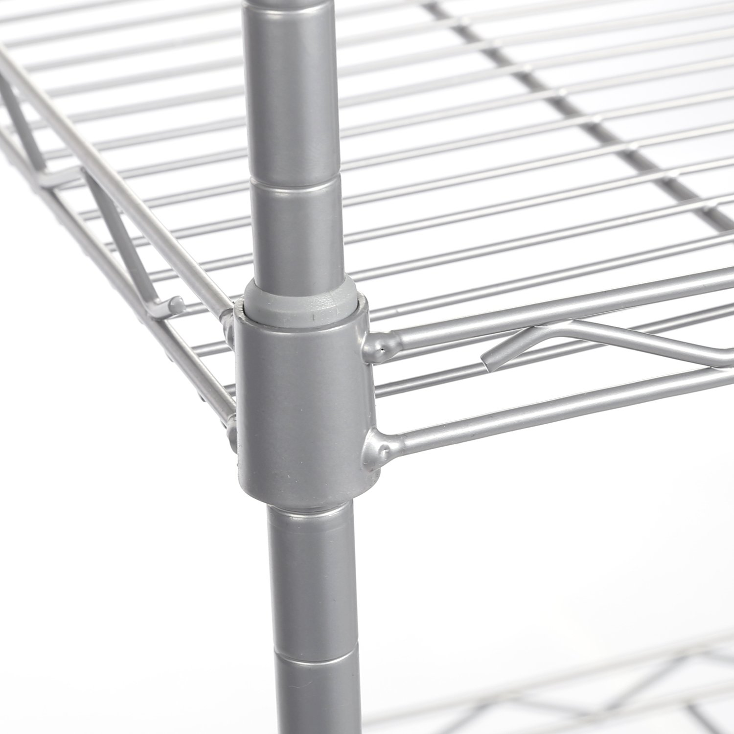 Homdox 6-Tier Storage Shelf Wire Shelving Unit Free Standing Rack Organization with Adjustable Leveling Feet Silver Hom5169-S Stainless Side Hooks
