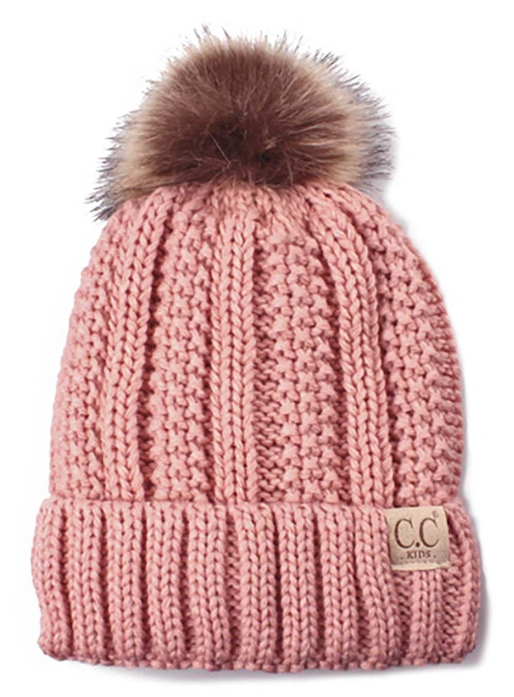 H-1820kids-71 Fuzzy Lined Pom Hat - Indi Pink