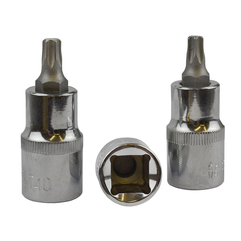 T40 Torx / Star Male Bit Sockets 1/2' Drive 3pc BERGEN AT779 AB Tools