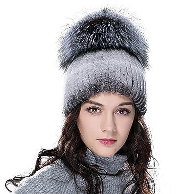 URSFUR Rex Rabbit Fur Hat Women s Knit Beanie Cap with Fox Fur Ball Pompom  Top Cyan 4050630e975