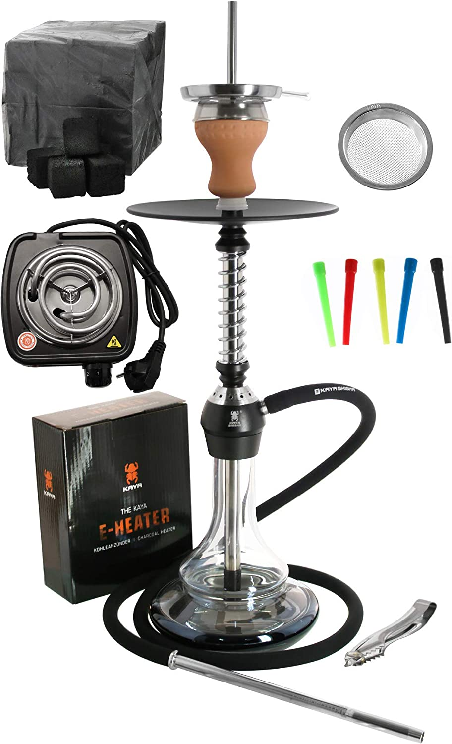 ELOX Eco 580 Twist Set con cocina eléctrica carbón de cachimba boquillas desechables pinzas gestor de calor (Blackground)