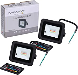 Miheal( 2 Pack) 110V 20W RGB LED Flood Lights,Outdoor Color Changing Floodlight with Remote Control, IP68 Waterproof 16 Colors 4 Modes Dimmable Wall Washer Light, Stage Lighting[Energy Class A++]