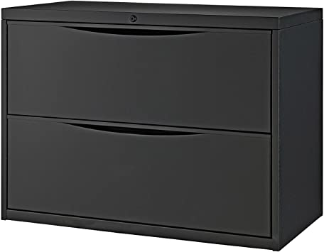 36 W Premium Lateral File Cabinet 2 Drawer Black Office Products