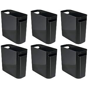 "mDesign Slim Plastic Rectangular Small Trash Can Wastebasket, Garbage Container Bin with Handles for Bathroom, Kitchen, Home Office, Dorm, Kids Room - 10"" High, Shatter-Resistant - 6 Pack - Black"