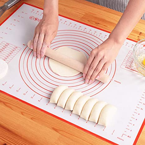 20 x 28 Silicone Pastry Mat for Pastry Rolling with Measurements,Large 28 x 20 ;Liner Heat Resistance Table Placemat Pad Pastry Board Reusable Non-Stick Large Silicone Baking Mat for Housewife
